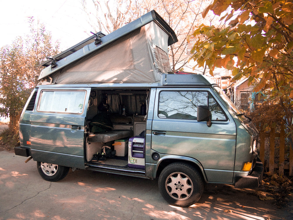 Got the pleasure of meeting Chris & Charlie, who were staying in this badass Westfalia on their way down to Florida for a festival. Solar panels powered their electric cooler. Killer setup. Asheville, NC.