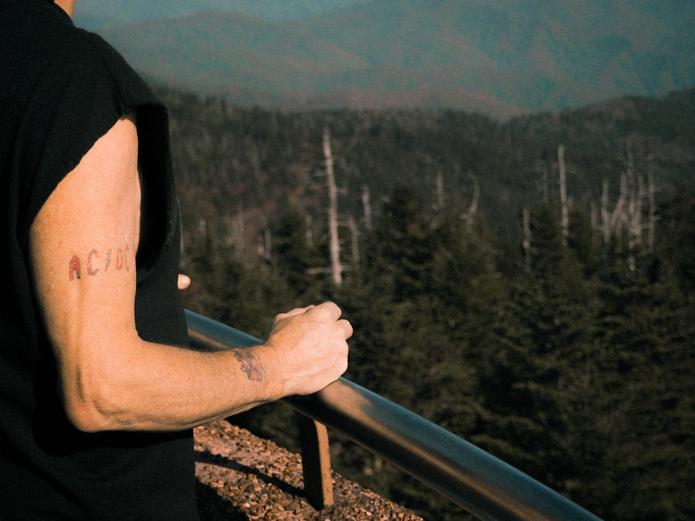 View from Clingman's Dome. This guy loves AC/DC and forgot that the South lost. Great Smoky Mountains National Park. North Carolina / Tennessee line.