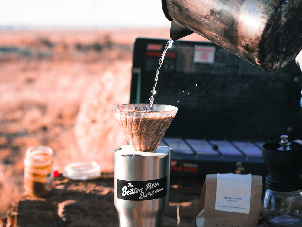 Morning coffee at Petrified Forest National Park in Arizona.