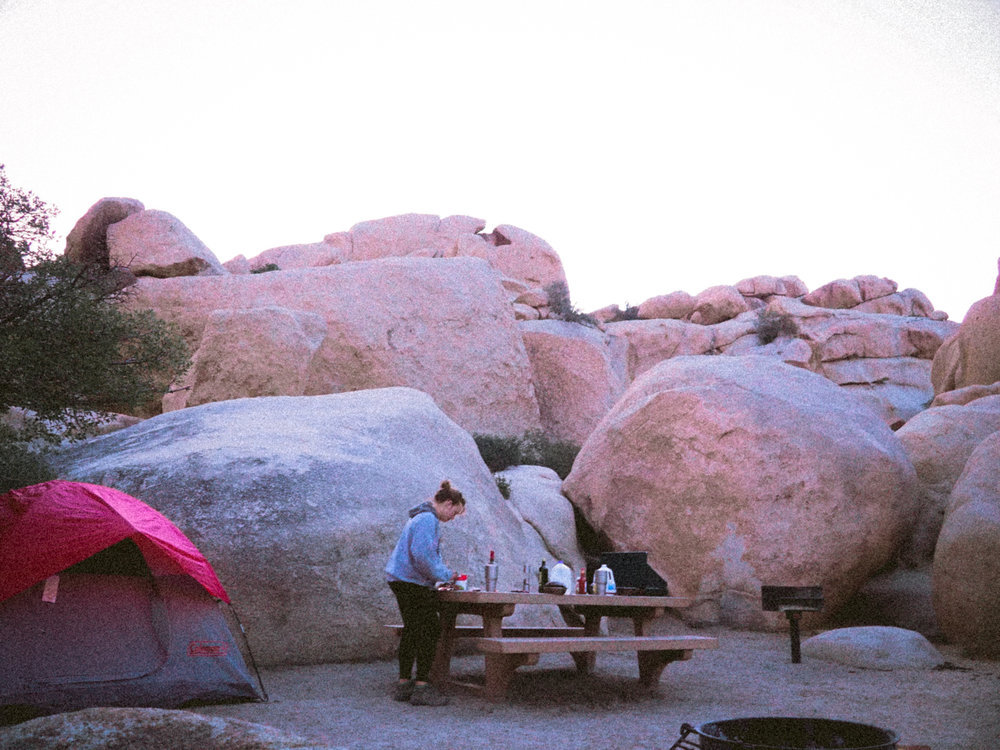 Dinner prep at Hidden Valley in Joshua Tree National Park.