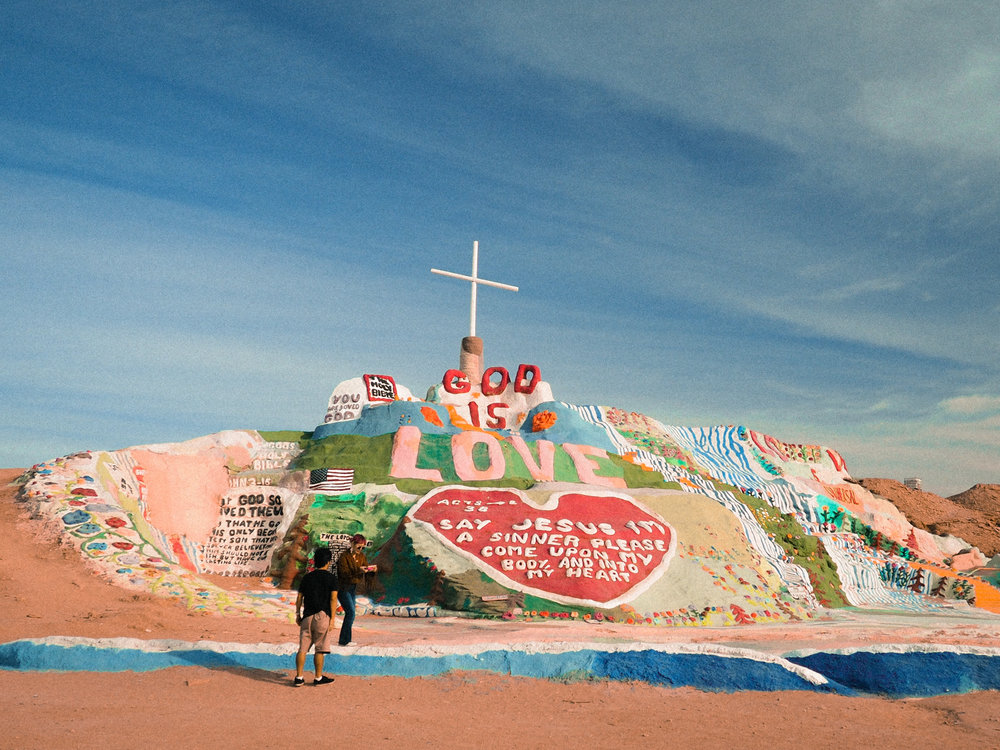 Salvation Mountain outside of Slab City, CA. One of the coolest, strangest things I've ever seen. A dedication to God that took one man 28 years to make.