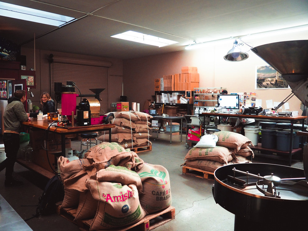 Northbound's facility where their team of three (sometimes four when their son is home from college) roasts, cups, packages, and ships their coffee.