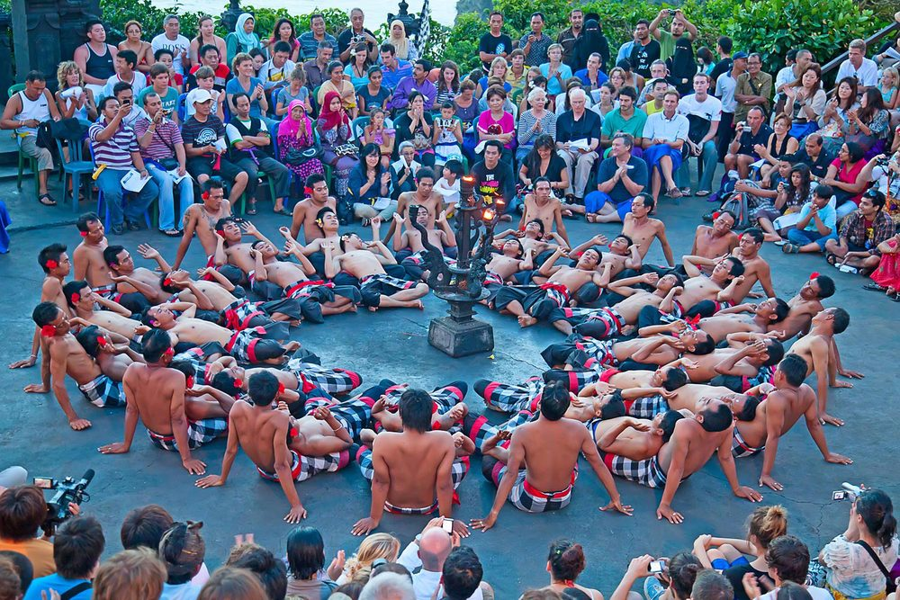 Kecak Balinese dance is performed primarily by men