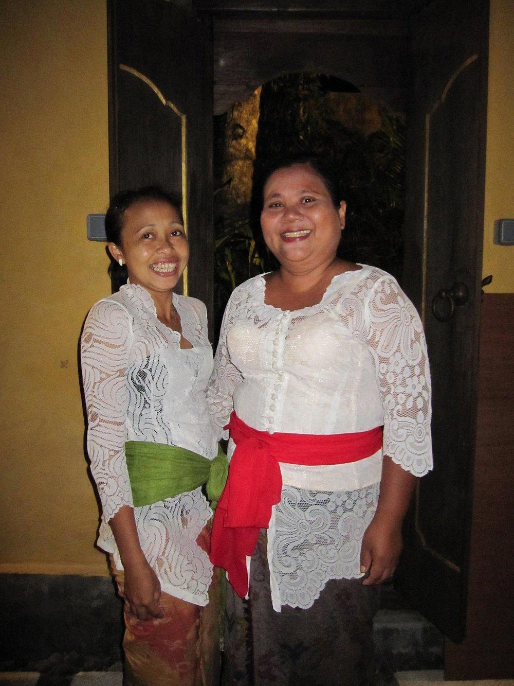 Dayu Made (right) & Suertini (left) head the caring team at Jendela di Bali