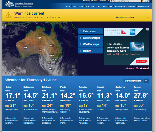 Bureau of Meteorology home page
