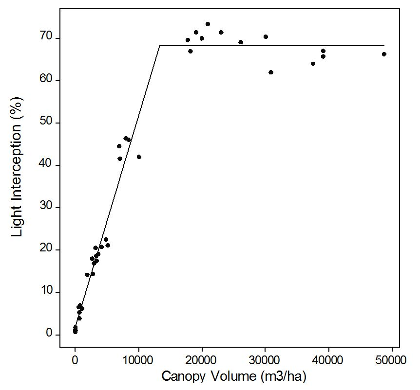 Relationship between light interception and canopy volume per hectare in Kensington pride, showing maximum interception of 68% at 13,300 cubic meters per hectare