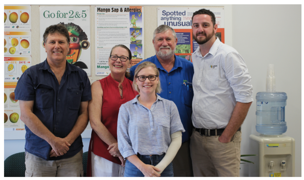 NT Farmers Association president Simon Smith of The Plantsmith Nursery, workplace relations consultant Donna Mogg, NT Farmers IDO Samantha Tocknell, NT Farmers CEO Greg Owens and Anthony Brick of AustSafe Super at the Darwin workshop.