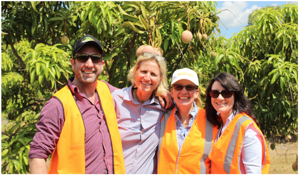 Craig, Samantha and Corrine pictured with manager of Acacia Hills Farm Martina Matzner in August 2017.