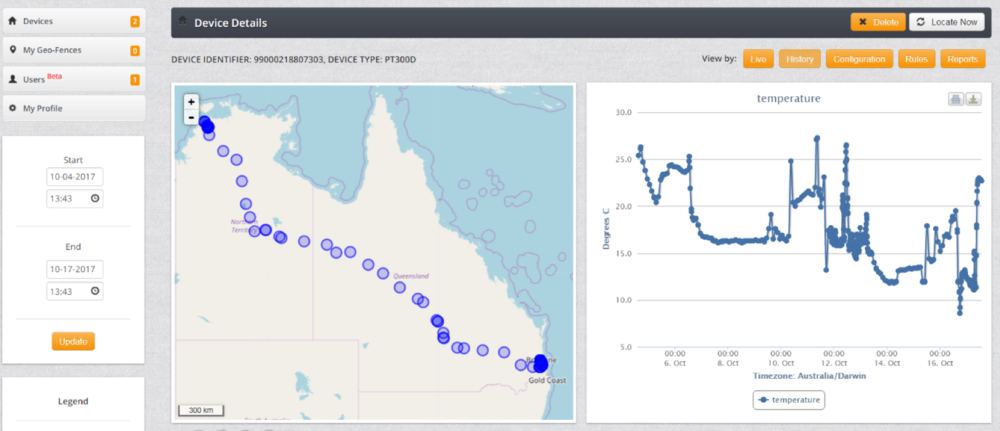 Trial one:    Device software displaying tracking of the shipment from Darwin to Brisbane and the temperature of the shipment.