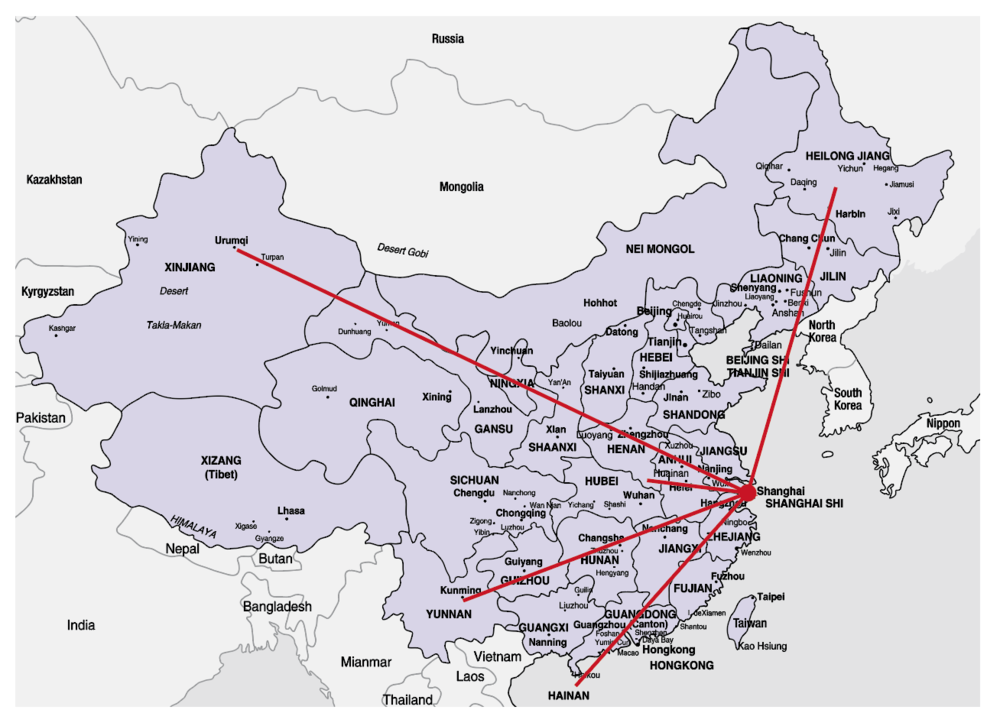 Image 1. The geographic map of five locations in relation to Shanghai.
