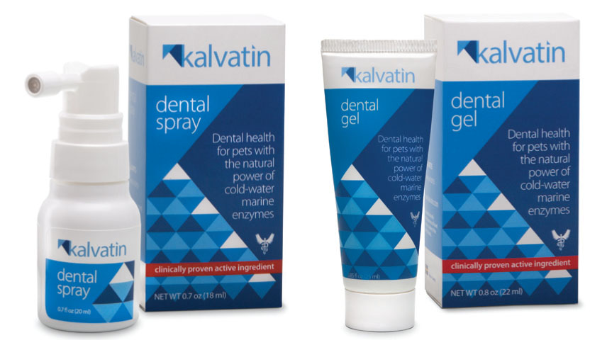 Kalvatin™ Dental Spray and Dental Gel  All-natural, veterinarian-recommended Kalvatin creates an active barrier that protects against bacteria that cause gingivitis, plaque, and tartar. The result? Healthier teeth and gums for your pet, fewer anesthesia-based dental surgeries, and a happier life for the two of you—together.