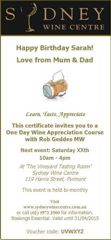 Gift certificate wine appreciation course