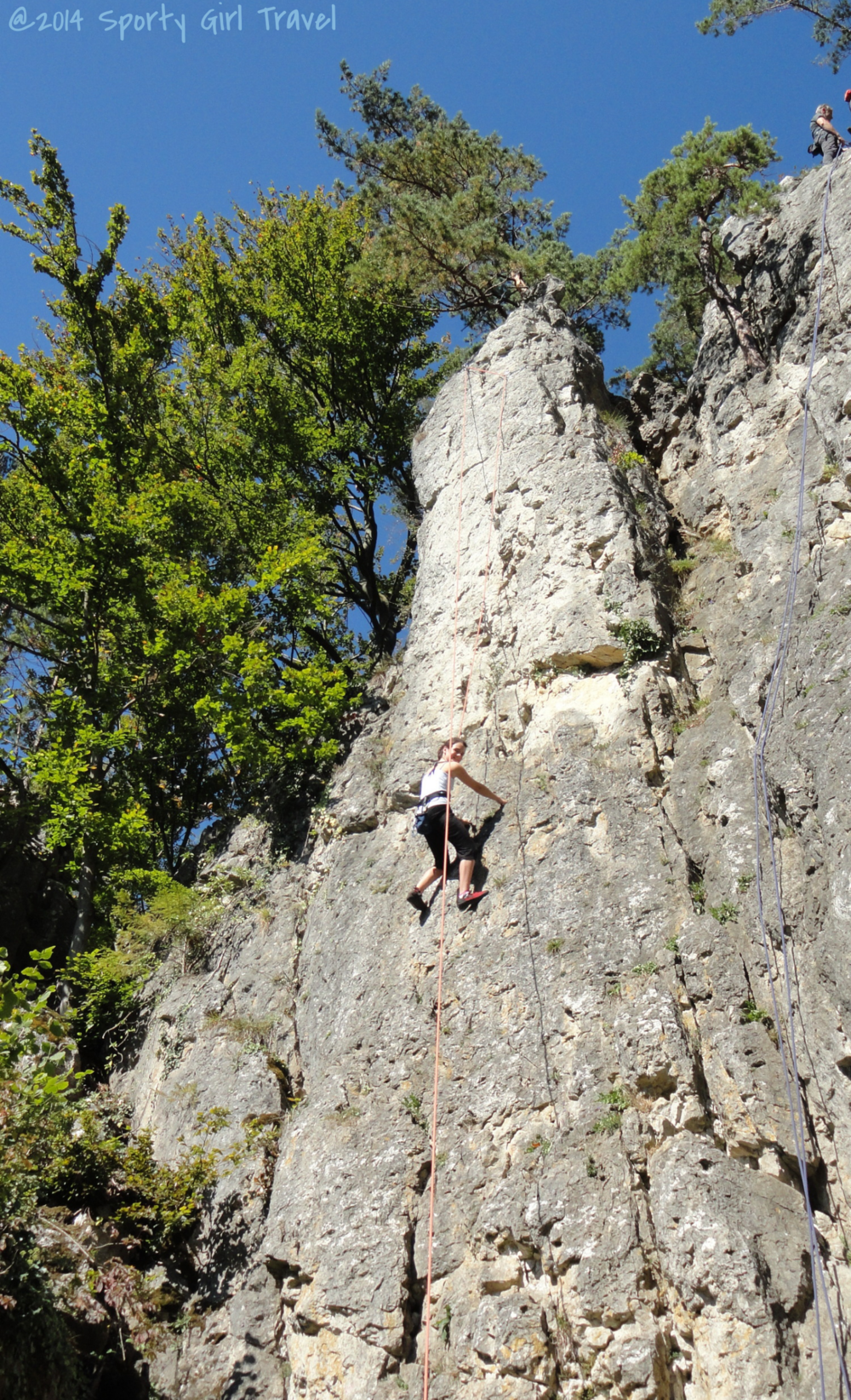 Climb On: The limestone rock is full of finger pockets and holds. Climber: Samara, age 12
