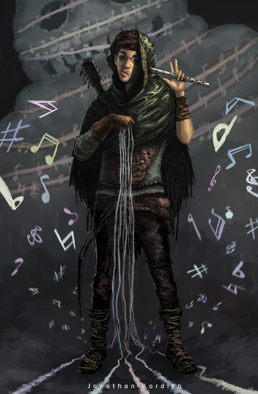 A male bard uses one hand to summon the strings of his instrument to bind a dangerous beast that attempts to sneak up behind him; he uses his other hand to threaten to vanquish it with his flute.