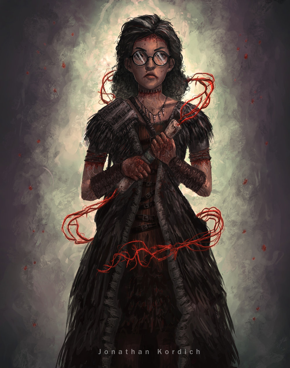 A witch conjures blood magic using a paper scroll that is firmly gripped between both of her hands. Several instances of thorns and other skin-piercing accessories allow her to channel this.