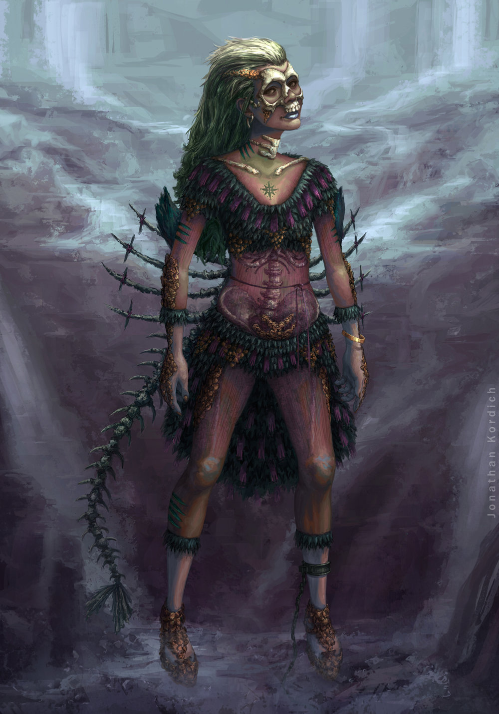 An undead nereid, with ribcage and hipbones exposed, hovers at the foot of a cave's stream.