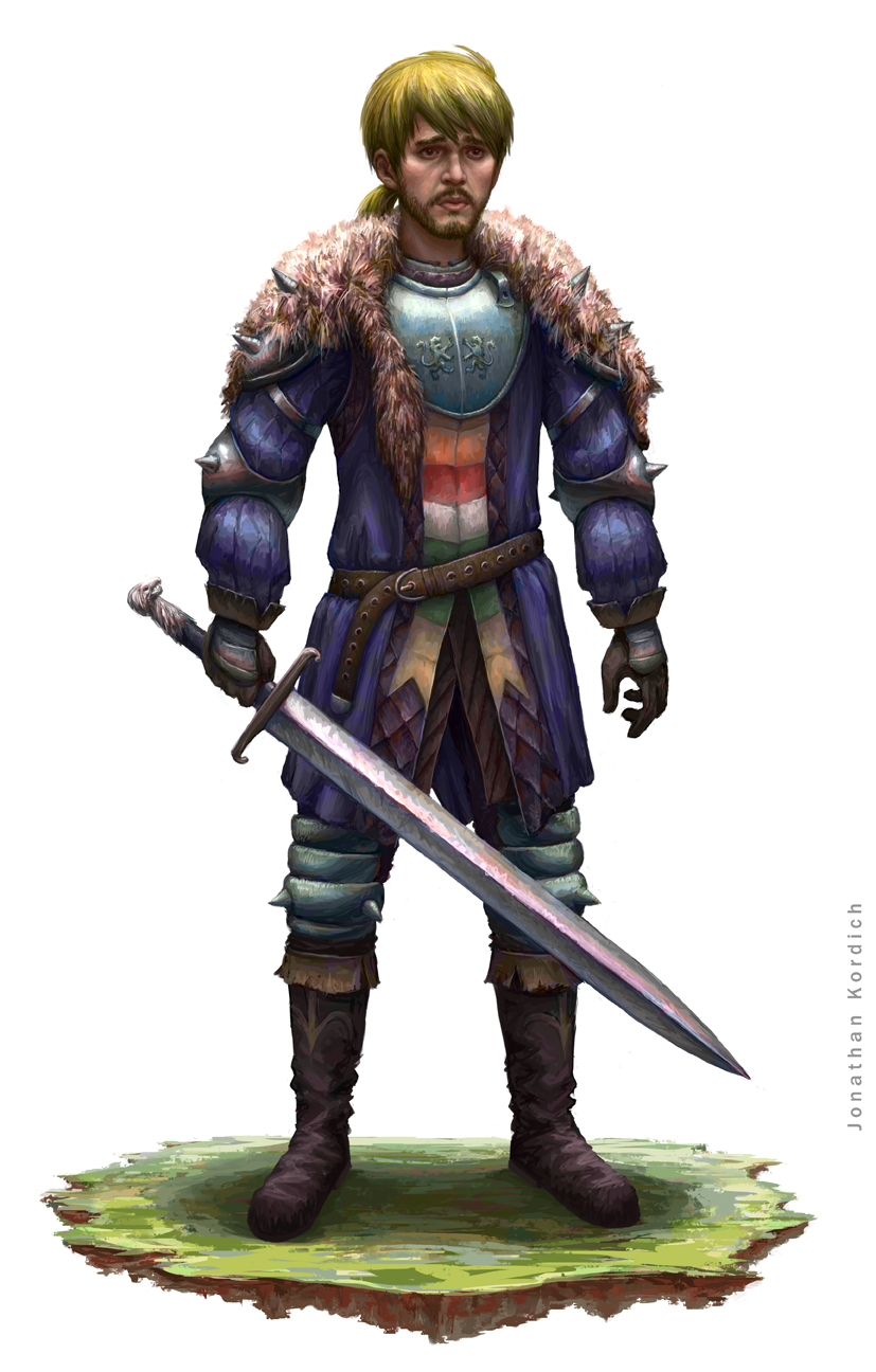 A loyal son stands in his family's colors and crest with his heirloom sword protecting any that oppose him.