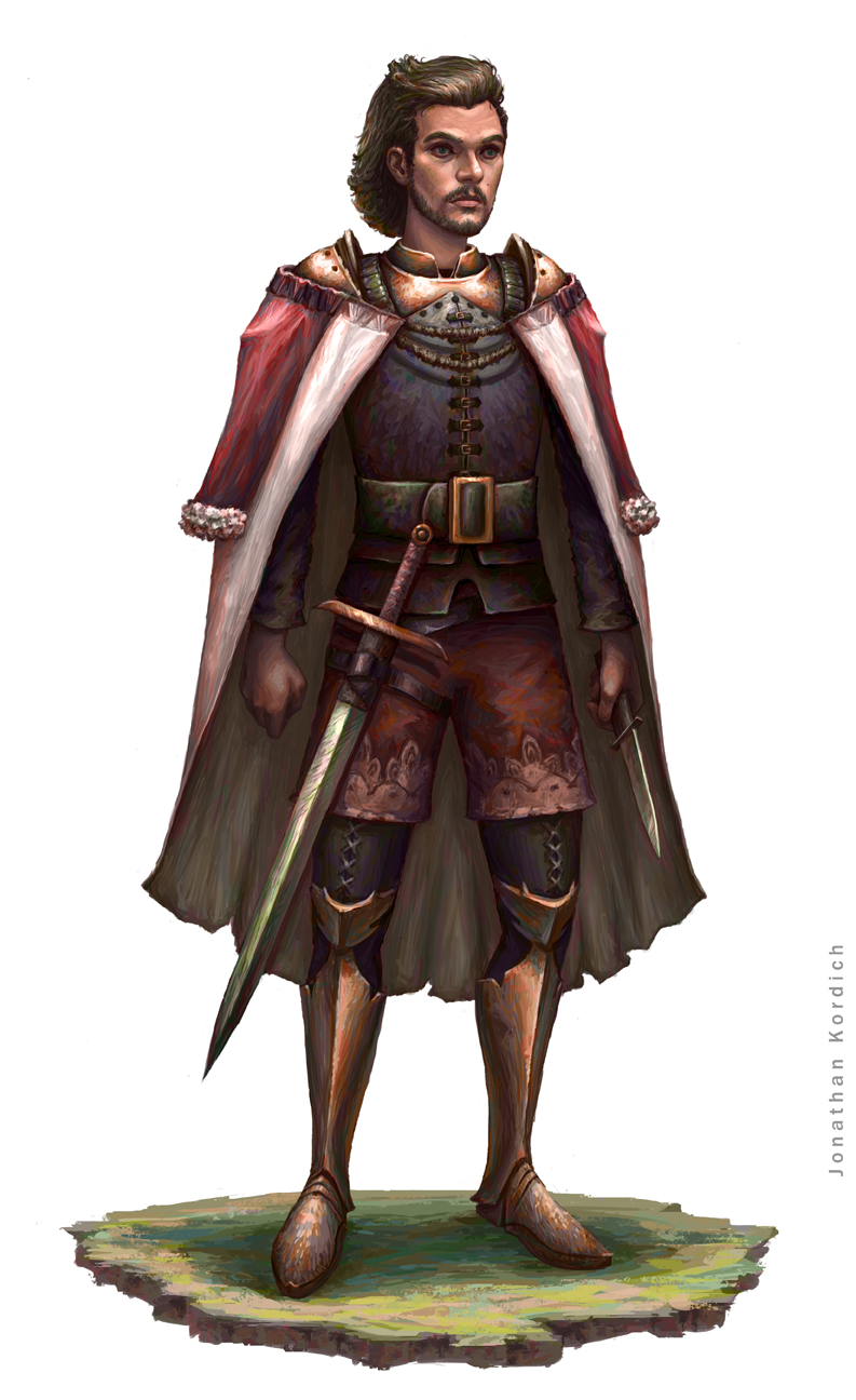 A sneaky royal man slyly reveals a dagger under his cloak while tricking aggressors into thinking that his only weapon is his sheathed sword.
