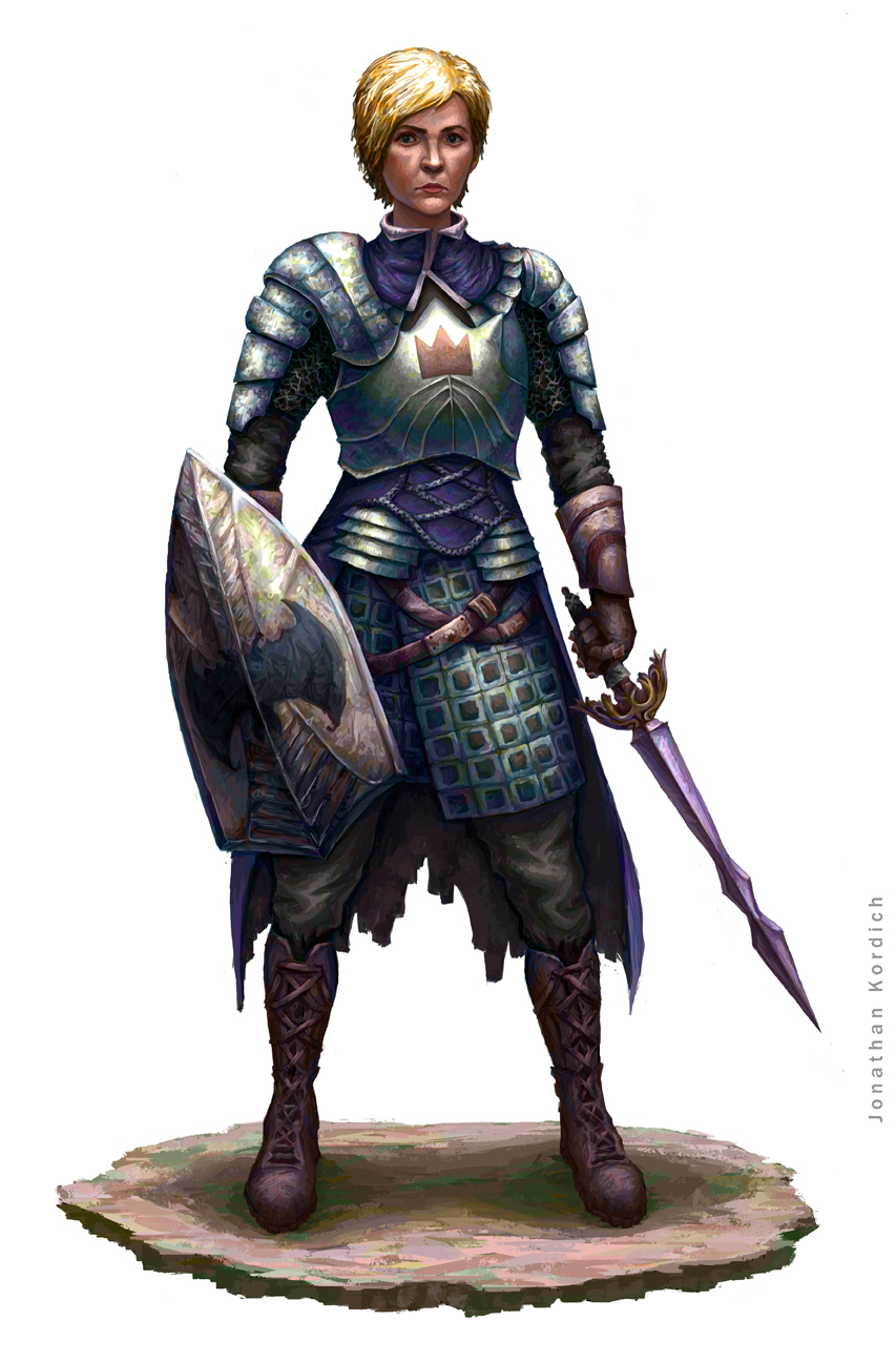Tall woman with short blonde hair wields a sword and shield with her faction's sigil on it.