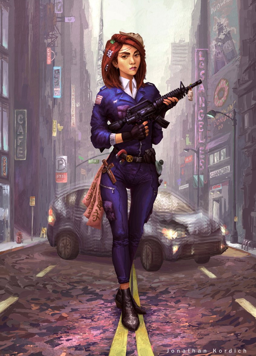 Militant woman in a police outfit, holding a semi-automatic rifle with many luck based accessories on her such as a four leaf clover, lucky cat mask, and a Japanese charm to ward away evil. A common hybrid sedan is behind her, seemingly possessed by evil spirits, that will soon be banished.