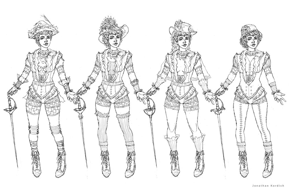 Design exploration for the Victorian fencer's outfit. Playing with different hats, socks, capes, and swords.