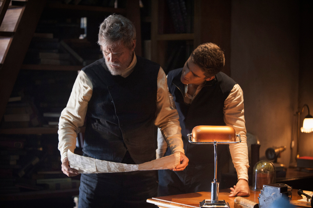 The Giver  (2014):  Jeff Bridges and Brenton Thwaites.