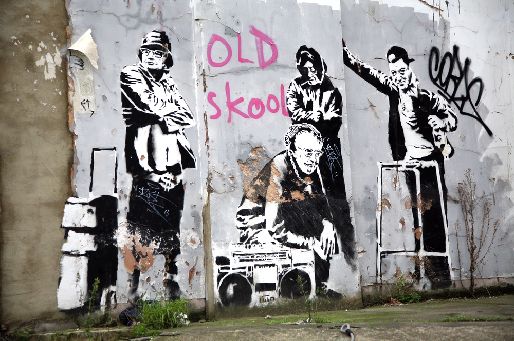 LONDON, UK - DECEMBER 31ST 2007: Banksy's 'Pensioner Thugs'