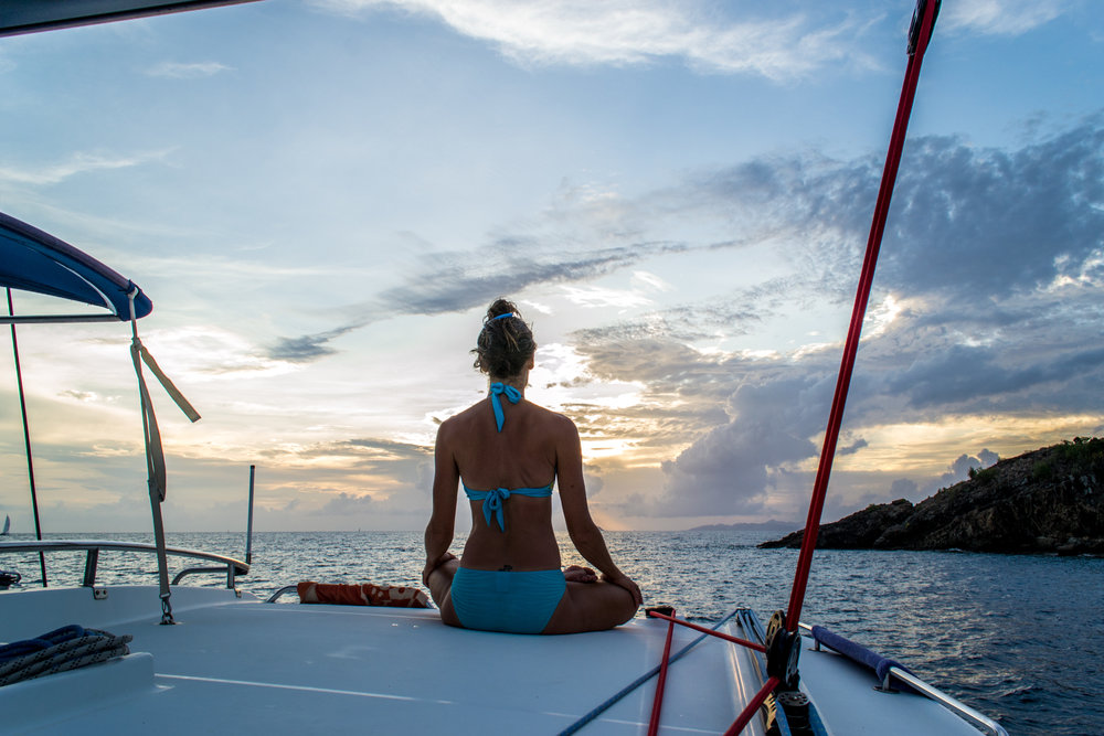 Sitting in Lotus on our Yacht in Grenada