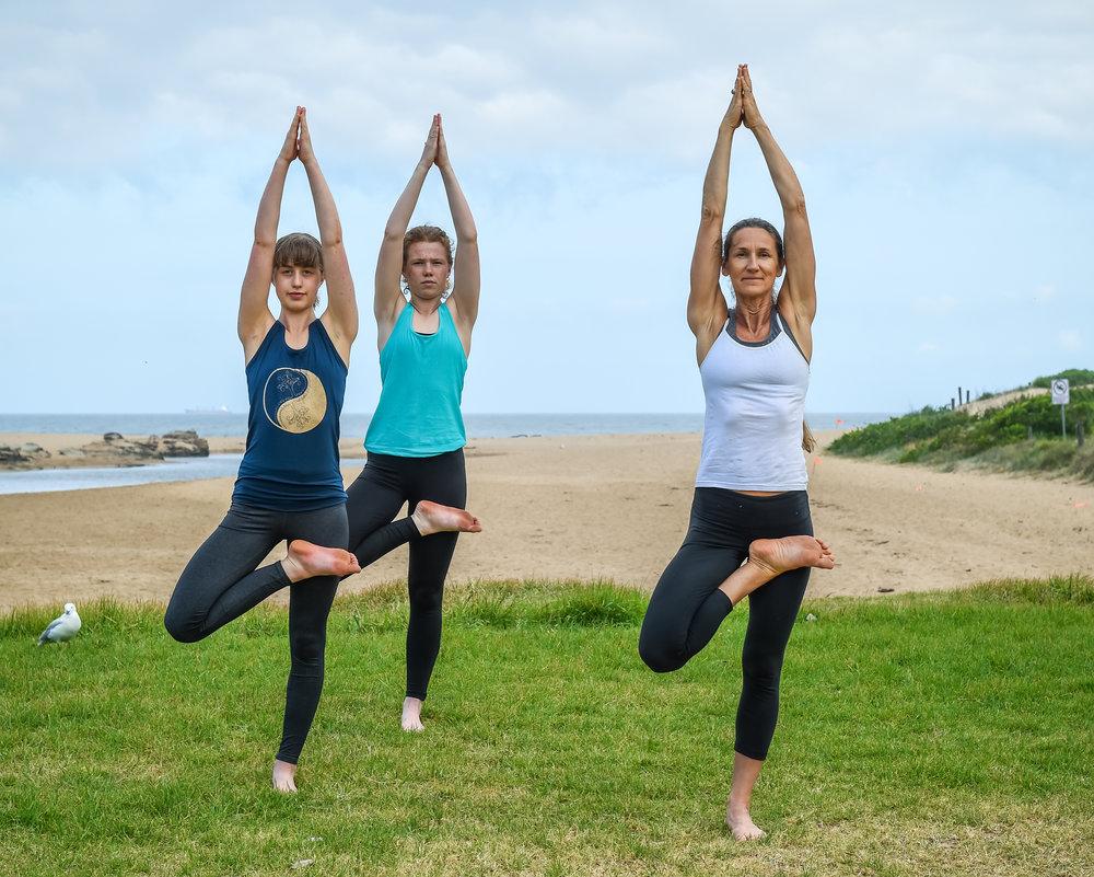 Yoga on the Beach. - Teenage Yoga on the Beach.