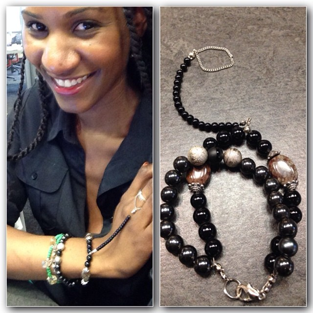 Delilah @peachluv wearing her custom hand-chain. Available now on www.charmedfeathers.com #charmedfeathers #iphone5 #handchain #bracelets #onyx #beadedbracelets #black #armcandy #jewelry #custom (at Wix Lounge)