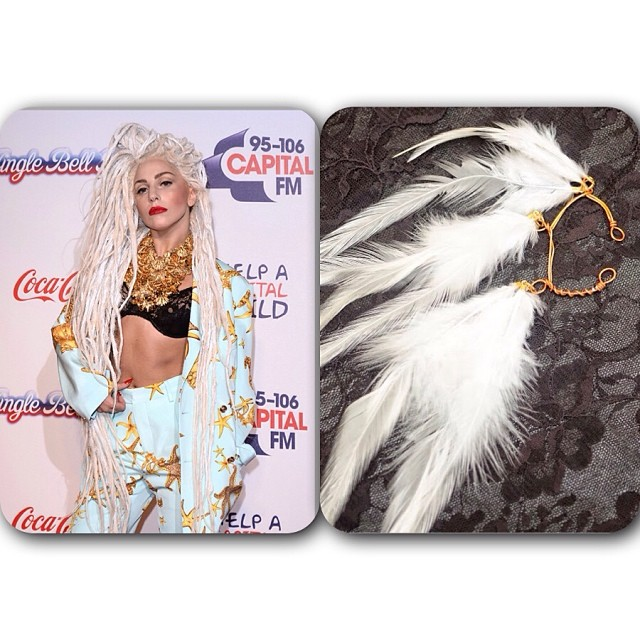 I am surprisingly in love with @ladygaga hair. My white feather cuff would go great with this look. #versace #ladygaga #charmedfeathers #feathers #earcuff #la #redcarpet #jingleball