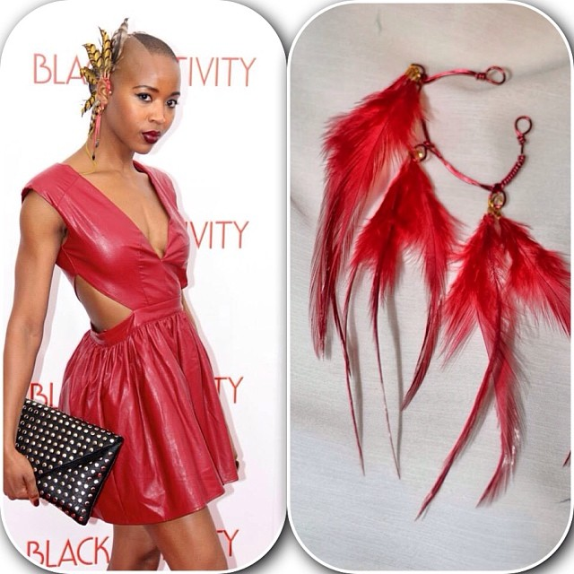 The beautiful Marija Abney looked hot fire at the #blacknativity premiere with her feather ear cuff. If she wanted a cuff for an every day look, Rogue would be perfect. Buy Rogue on  www.charmedfeathers.com  #charmedfeathers #model #actress #feathers #earcuff #accessoryoftheday #wearableart #blackbeauty