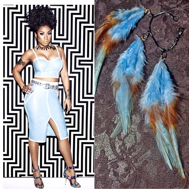 We love women who love color which is why we love @keyshiacole and @stevemadden limited edition shoe collection. Pair KC-Telme with Bleu de France feather ear cuff. Available on  www.charmedfeathers.com  #keyshiacolexstevemadden #smxkeyshia #featherearcuff #featherearrings #colorful #sexy #charmedfeathers  #heels #colors