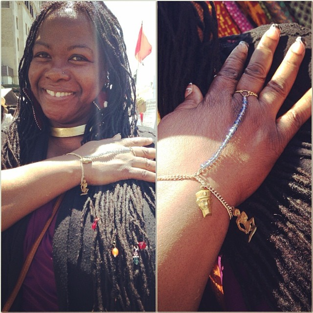 We bumped into Sharon at the DanceAfrica Bazaar. She was wearing a hand-chain she brought last year in Harlem  #charmedfeathers #brooklyn #nyc #danceafrica #BAM #festival #bk #brooklynfestival #jewelry #jotd #handchain #danceafricabazaar