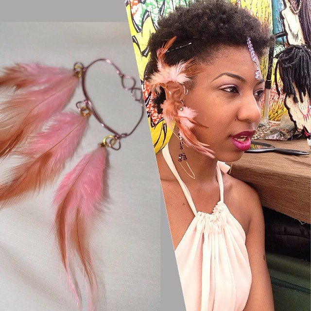 Designer @charmedfeathers wearing Peony at DanceAfrica. Purchase on  www.charmedfeathers.com  #charmedfeathers #feathercuff #hairjewelry #accessories #nhd #brooklynfestival #festival #tribal #danceafricabazaar #pink #colors
