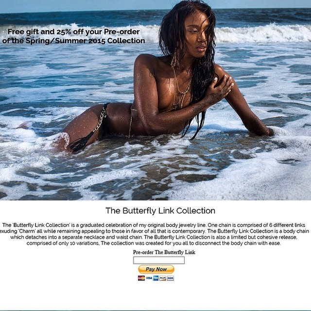 The new collection is available now for pre-order. Go to  www.charmedfeathers.com  to be one out of 50 people to receive 25% off and a FREE gift. #thebutterflylink #bodychains #thebutterflylinkcollection #beach #preorder #charmedfeathers #LB #s/s2015 #beachphotography #sportsillustrated #gqmagazine #freegift #promo #launchpage