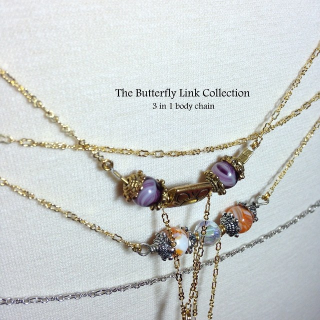 The Butterfly Link Collection was inspired by interviews I conducted with nine women, whose interests lie in putting things together. These women have a clear vision of who they want to be and are working towards building their bigger picture. I designed 9 pieces that represent each woman.  #thebutterflylink #jewelry #bellychain #bodychain #3in1 #thebutterflylinkcollection #collection #charmedfeathers  #charmedsisters #charmedlife