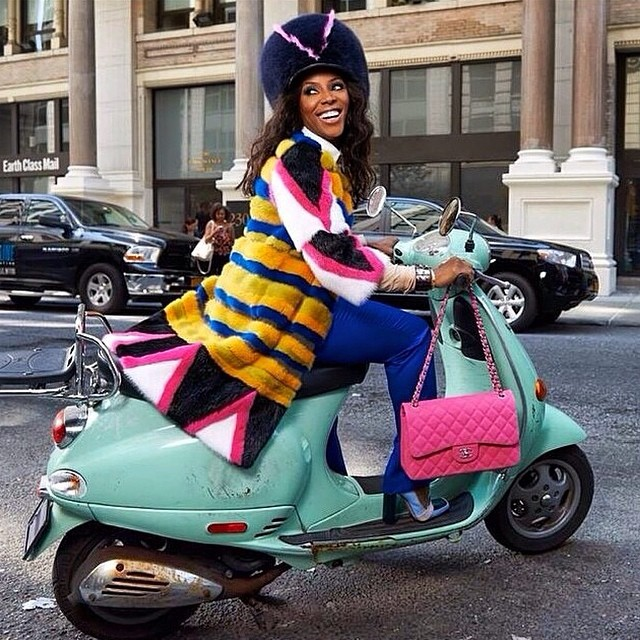 Love June Ambrose @juneambrose #motorcycle #colors #fallwinter #fashionable #stylista  #vintage #retro #furhat