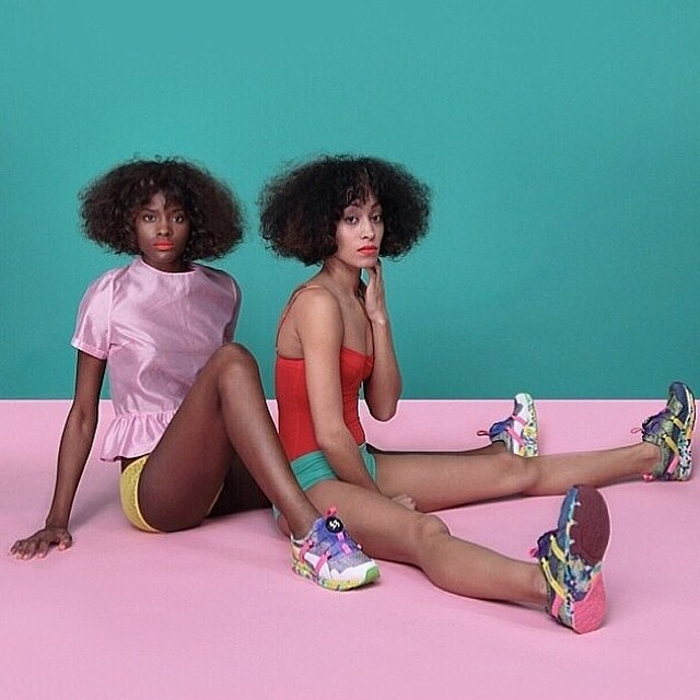 """Girls of Blaze"" Disc Collection by Solange Knowles @saintrecords @puma #girlsofblaze #disc #runningshoes #colorblock #cottoncandy #afro #fashion"