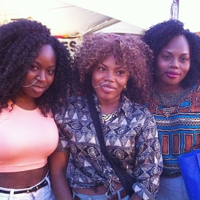 A sexy group of friends wearing matching #nosechains at AfroPunk festival this year. #inmyimage #inmyimageproductions #apf13 #customers #natural #naturalgirls #naturalistas #afropunkfest #brooklyn