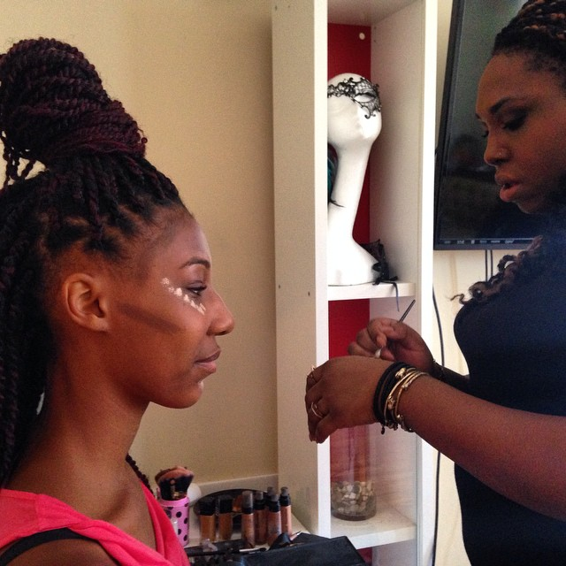 Getting makeup done for today. Y'all not even ready!! #afropunkfest #makeup #sisters