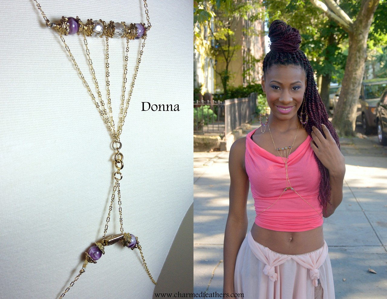 Magdaline is wearing the Donna body-chain.     From The Butterfly Link Collection.       Photos by Delilah Peach Williams.