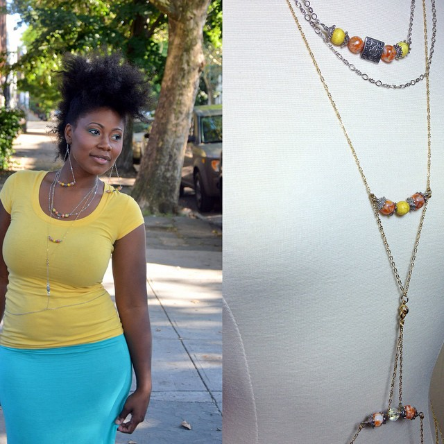 Elizabeth modeling the Melody body chain at AfroPunk. Wait on the release of the new collection coming soon. Photos by Delilah Williams. #charmedfeathers #afropunk2014 #livecolorfully #thebutterflylinkcollection #tbl #bodychain #blackwoman #fro #frohawk #naturalhair #ss2015