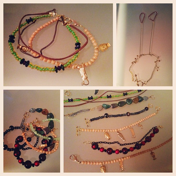 Custom jewels for @up4somet, beaded wrist and ankle bracelets.
