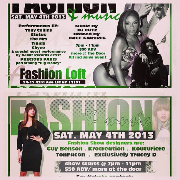Who's coming to the Fashion and Music Extravaganza this Saturday. There will be unlimited food, drinks, music performances AND a fashion show. Make it Happen will also be there and alive. For tickets 347-512-6379/ 646-641-5501/ 646-773-3049. You want to make sure you are there.