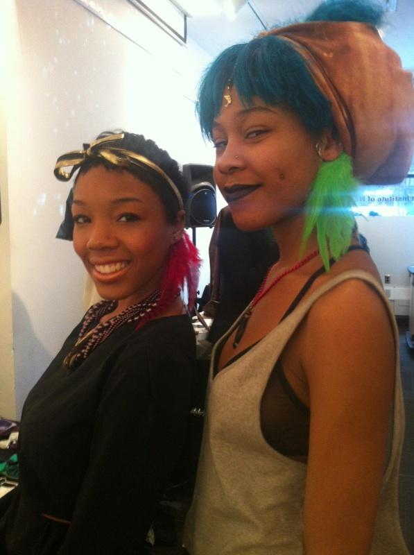 Divas in Make it Happen feather cuffs