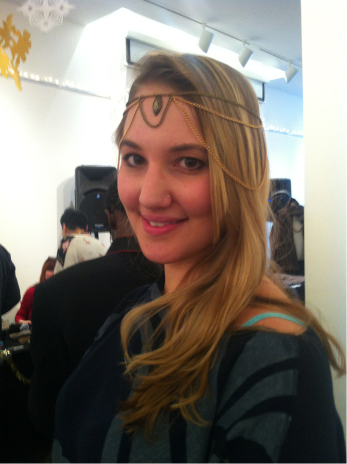 Lisa looking fabulous in a goddess head chain from our Romance Theory collection.