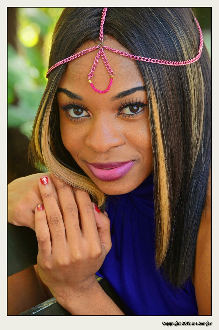Murvy looking lovely in her custom Make it Happen head chain   Copyright Ira Berger 2012