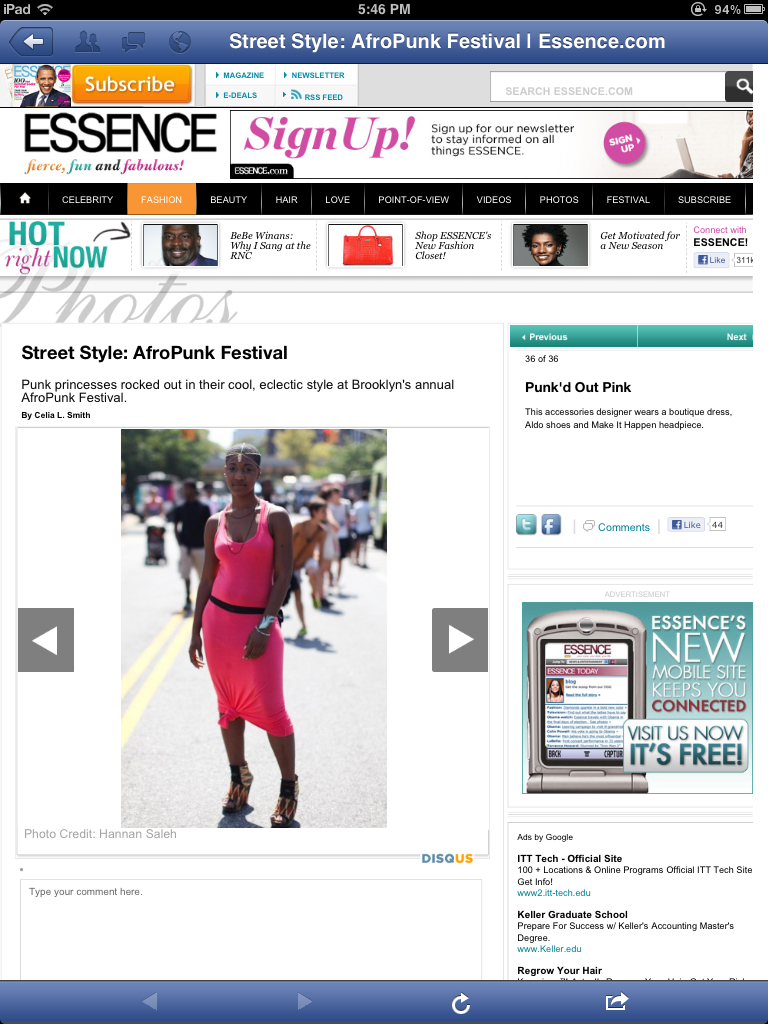 I made it on Essence/blog. When I got a chance to sneak away from our table for something to eat. Loved everything about this festival.