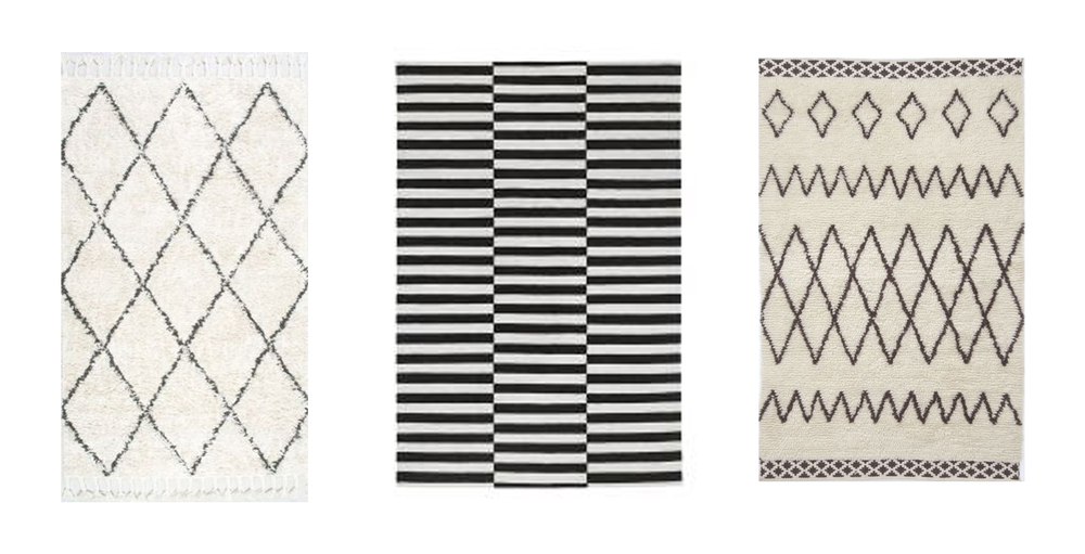 Rug sources: Rugs USA, IKEA, West Elm